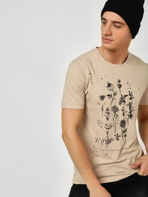 KOOVS Floral Print Zipper Back T-Shirt