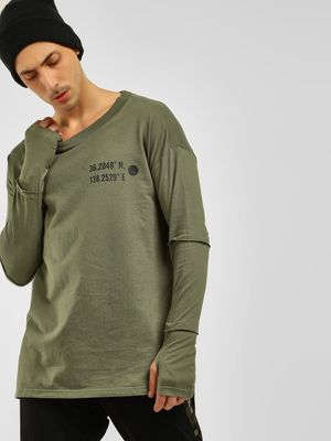 KOOVS Thumbhole Tier Sleeve Sweatshirt