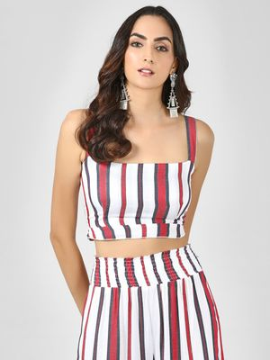 KOOVS Striped Strappy Crop Top