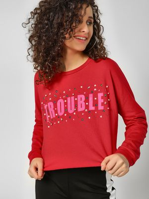 KOOVS Slogan Embellished Cropped Sweatshirt