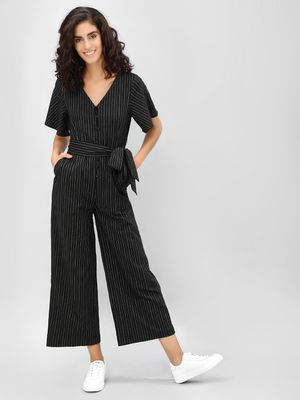 Cover Story Contrast Striped Cropped Jumpsuit