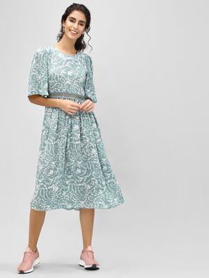 Cover Story Floral Flare Sleeve Midi Dress
