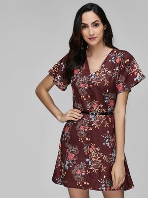 KOOVS Floral Print Mini Dress