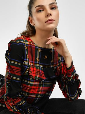 UMM Tiered Sleeve Check Blouse
