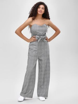 Cover Story Bandeau Checkered Jumpsuit