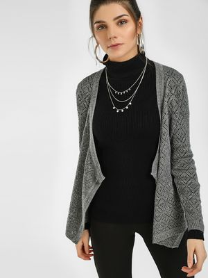 HEY Woven Front Open Cardigan