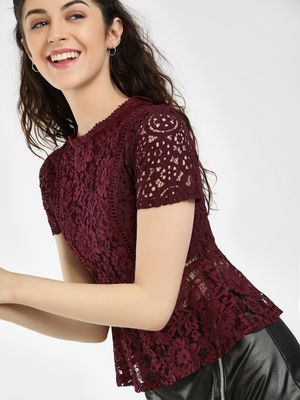 HEY All Over Lace Peplum Top