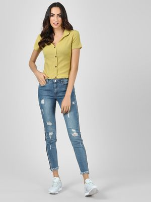 Brave Soul Side Tape Cropped Skinny Jeans