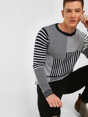 KOOVS Patchwork Stripe Knitted Jacquard Sweater