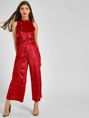 KOOVS Embellished Neck Velvet Jumpsuit
