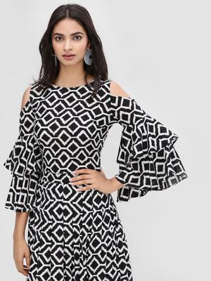 KOOVS Monochrome Cold Shoulder Top