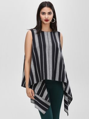KOOVS Monochrome Striped Asymmetric Top