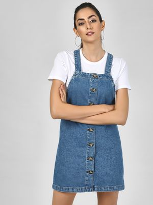 New Look Button Closure Dungaree Dress