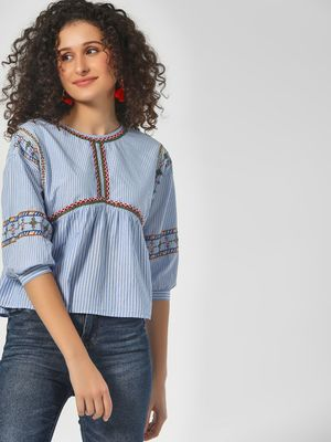 Sbuys Striped Blouse With Embroidery