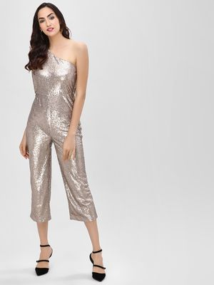 Cover Story One Shoulder Sequins Jumpsuit