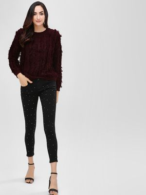 Cover Story Pearl Embellished Skinny Jeans