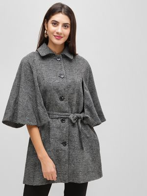 Cover Story Checkered Flared Sleeve Coat