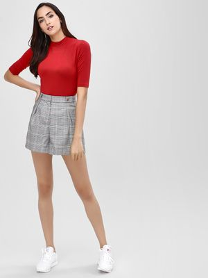 Cover Story Plaid Tailored Shorts