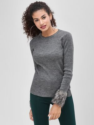 Cover Story Round Neck Pullover With Fur Detail