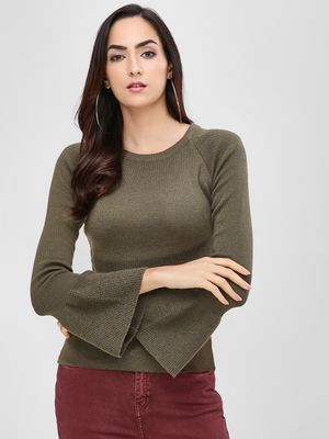 Cover Story Round Neck Pullover With Flared Sleeves