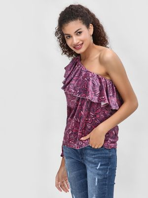 Cover Story One Shoulder Velvet Blouse