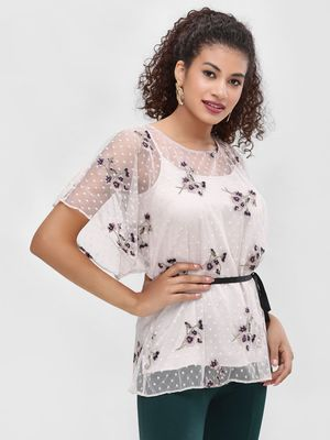 Cover Story Floral Embroidered Dobby Blouse