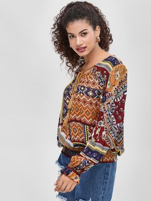 Cover Story Volume Sleeve Printed Blouse
