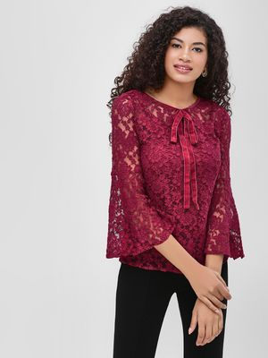 Cover Story Lace Blouse With Flared Sleeves