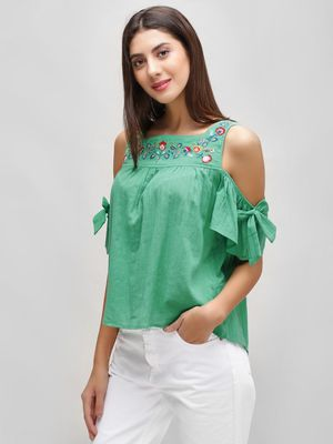 Cover Story Floral Embroidered Cold Shoulder Top