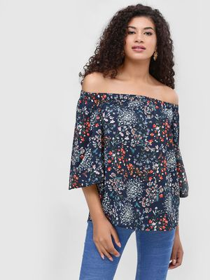Cover Story Printed Off Shoulder Top