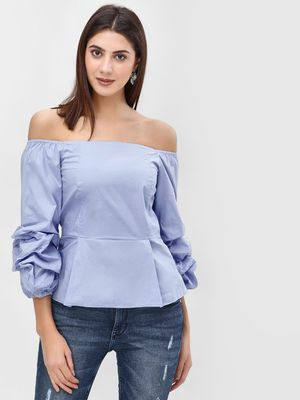 Cover Story Off Shoulder Ruched Blouse