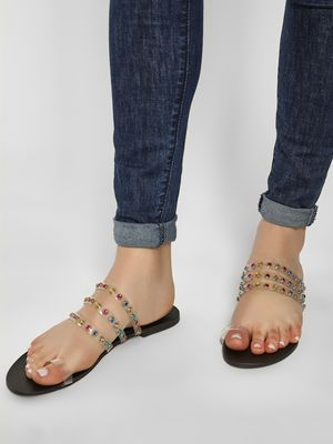KOOVS Gem Transparent Multi-Strap Sandals