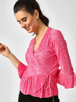 Missi Clothing Frill Pleated Wrap Top
