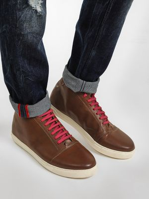 KOOVS Contrast Lace-Up Mid Top Sneakers