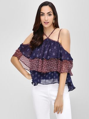 Cover Story Multi-Tier Printed Halter Neck Blouse