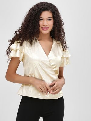 Cover Story Ruffle Sleeve Metallic Wrap Top