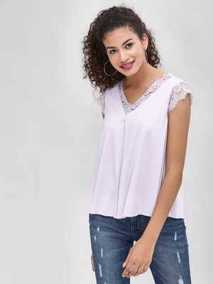 Cover Story Lace Trim Flared Top