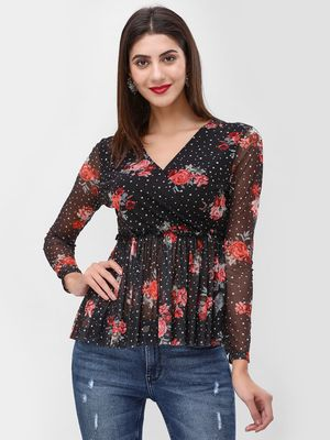 Cover Story Printed V-Neck Blouse