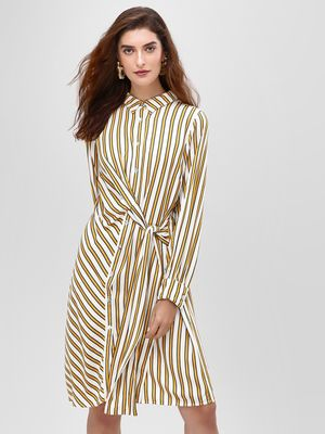 Cover Story Stripe Shirt Dress With Draw String