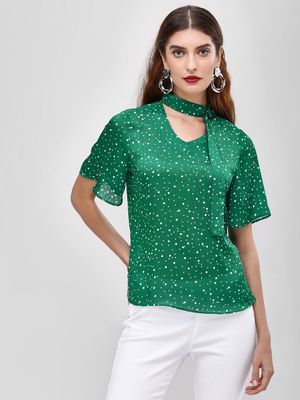 Cover Story Printed Blouse With Tie Detail