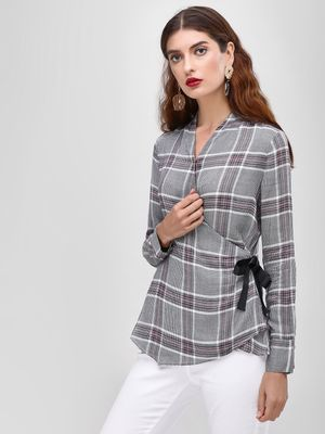 Cover Story Checkered Side Wrap Blouse