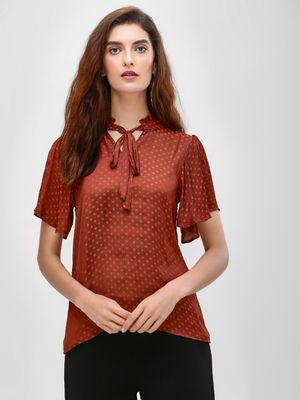Cover Story Self-Design Polka Dot Blouse