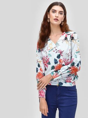 Cover Story Floral Print V- Neck Blouse