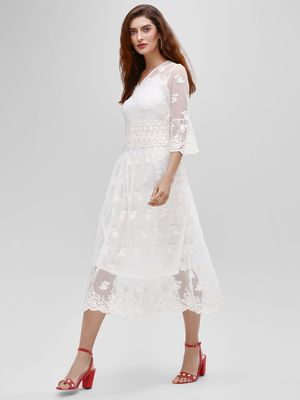 Cover Story Floral Mesh Lace Midi Dress