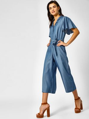 PostFold V-Neck Frilled Sleeve Jumpsuit