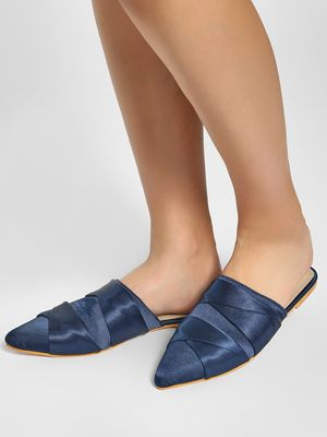 CAi Cross-Strap Satin Flat Mules