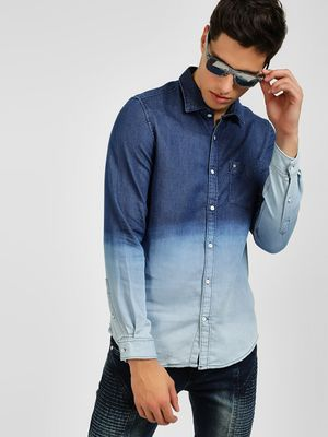 Lee Cooper Bleach Washed Denim Shirt