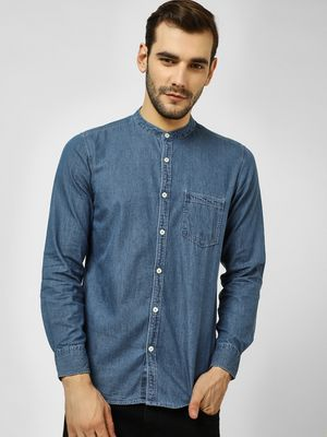 Buffalo Grandad Collar Denim Shirt