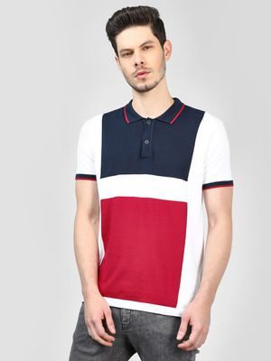 SCULLERS Colour Block Knitted Polo T-Shirt