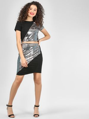 KOOVS Sequinned Colour Block Pencil Skirt